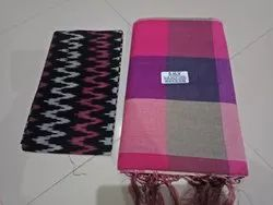 Party Wear Printed Handloom Pure Cotton Printes Saree, With Blouse, 6.3 m