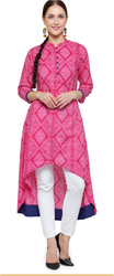 Fancy Cotton Pink A- Line  Kurti