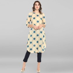 Janasya Women's Cream Pure Cotton Kurta