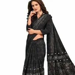 Heavy Linen Silk Thread Embroidery Saree