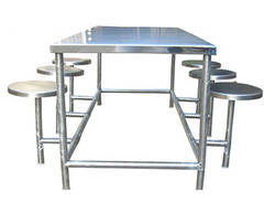 SS Dining Table with Stool