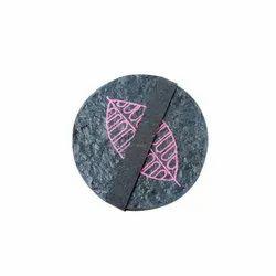 Handmade Pink Autumn Leaf Print Paper Mache Coasters