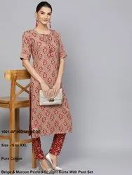 Beige & Maroon Printed Straight Kurta With Pant Set
