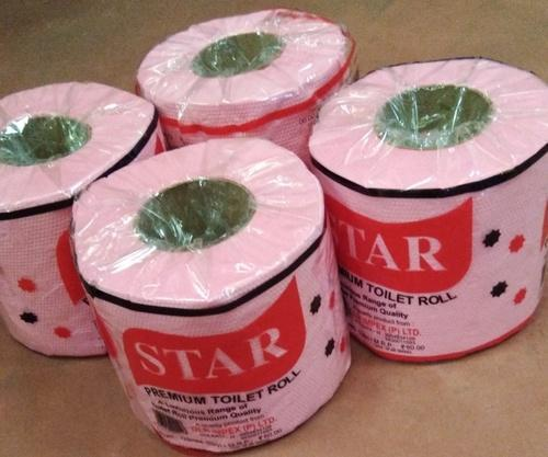 Star White and Pink Toilet Roll, for Office and Hotel