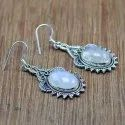 925 Sterling Silver Fine Jewelry Natural Rainbow Moonstone Gemstone Earring We-6010