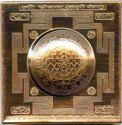 Kesar Zems (Brass & Copper) Kurm Prusth Shree Yantra (7.5 cm x 7.5 cm x 0.05 cm, Gold)