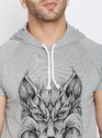 100% Cotton Men Short Sleeve Hooded Round Neck T-Shirt