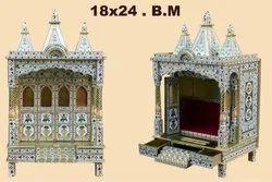 Golden Wooden Meenakari Temple, Size/Dimension: 18x24 Inch