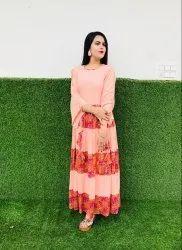 Round Neck Designer Kurtis Gown