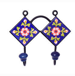 Ceramic and Iron Ceramic Tile Peg Hooks, Powder Coated