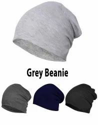 Grey Cotton Beanie Cap