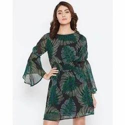 Above Knee Length Western Wear Women's Elegant Black Printed Georgette Dress
