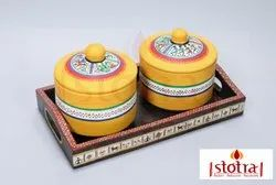 Terracotta Hand Painted Round Jar Set