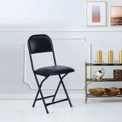 Black Mild Steel Folding Chair For Home