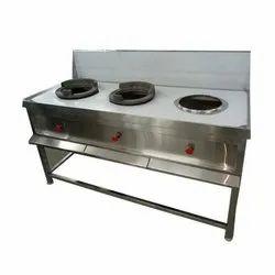 3 Stainless Steel Three Burner Bhatti three burner range