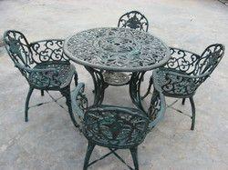 Cast Aluminium Chair And Table Set