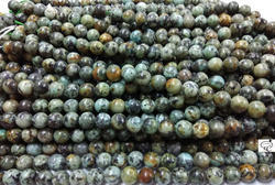 African Turqouise Round Plain Beads