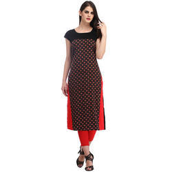 Cottinfab Women's Black & Red Casual Printed Kurti