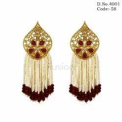 Fusion Ethnic Pearl Hanging Polki Earrings