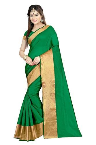 ce32c23763 Casual Wear Light Green Printed Cotton Silk Saree, With Blouse Piece ...
