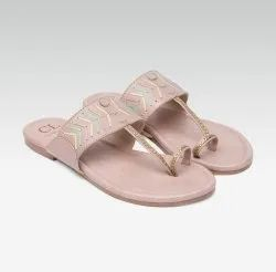 Women Pink Textured Leather Flats Sandals, Size: 3-8