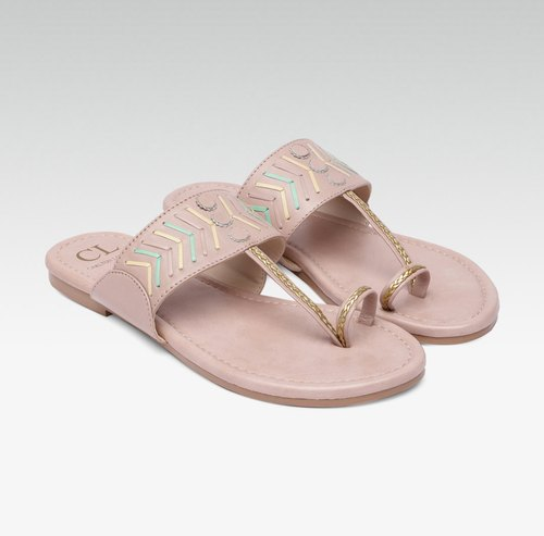 Women Pink Textured Leather Flats