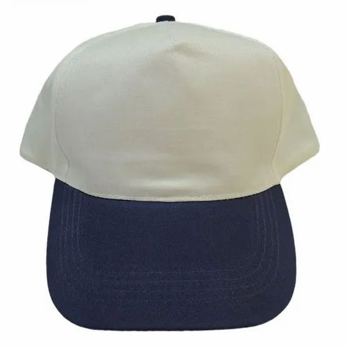 White and Navy Blue 100% Polyester Plain Promotional Cap