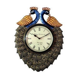 Wooden Clock Peacock Figure