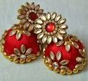 Fashion Beaded Silk Thread Jhumka Earrings, Packaging Type: Poly Bag And Box