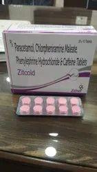 ZITCOLD-TAB Paracetamol 325 Mg  Phenylephrine 5 Mg CPM 2 Mg Ceffine 16 Mg Tablets