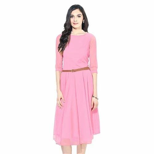 e1f5ad225627 Western Wear Georgette Knee Length Dress