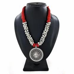 Oxidized Ghunghru Red Thread Necklace