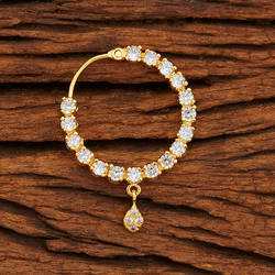 CZ Classic Nose Ring With Gold Plating 61325