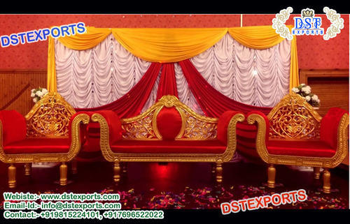 Wood Wedding Red And Gold Sofa Set