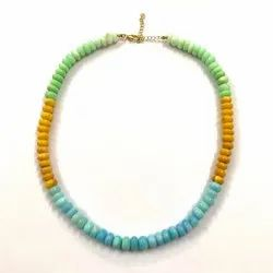 Multi Color Opal Stone Smooth Beads Necklace Blue Green Yellow