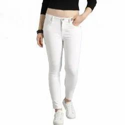 Ladies White Stretchable Denim Jeans, Waist Size: 28-36 Inch