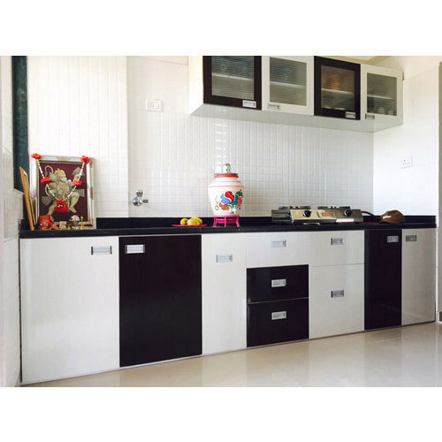 Modern White And Black PVC Modular Kitchen, Rs 150000