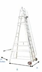 Aluminium Self Support Extension Ladder with Small Wheel