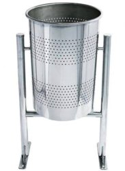 Stainless Steel Open Top Pole Hanging Dustbin, Shape: Round