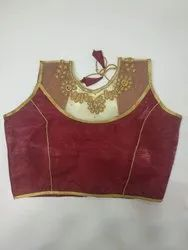 Maroon Art Silk Readymade Blouse