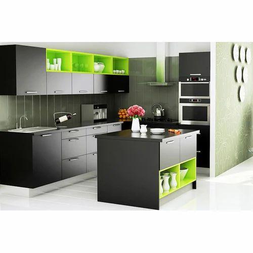 51 Green Kitchen Designs: Black And Green Modular Kitchen, Rs 300000 /unit, Dawarka
