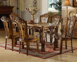 4 chairs Traditional Wooden Carved Dining Set by Aarsun, for Home