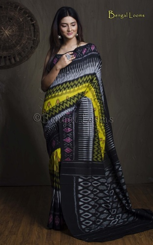 Pure Handloom Mercerized Cotton Pochampally Saree in Yellow and Black