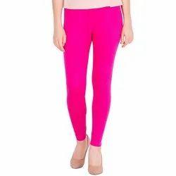 Plain Ladies Magenta Cotton Legging, Size: S-XXL