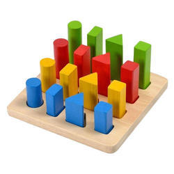 Wooden Peg Board With Color Pegs