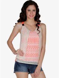 Sleeveless Mayra Orange Embroidered Stroppy Top, Size: Regular