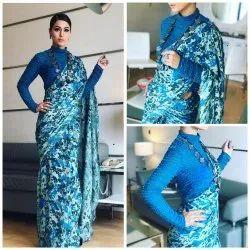 SF Blue Designer Saree Pure Rangloi Crape, 5.2 m (Separate Blouse Piece)