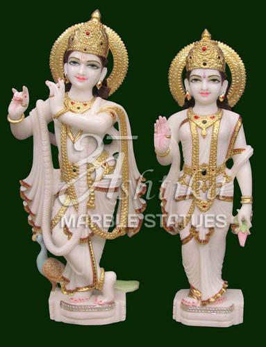 Ashtika Marble Statue Multicolor Radha Krishna Marble