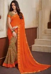 Moss Green and Orange Georgette Print Saree