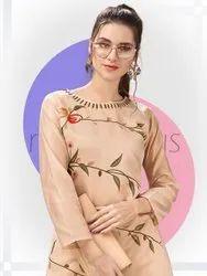 Yardley Tan Silk With Digital Printed Latest Kurti With Plazzo